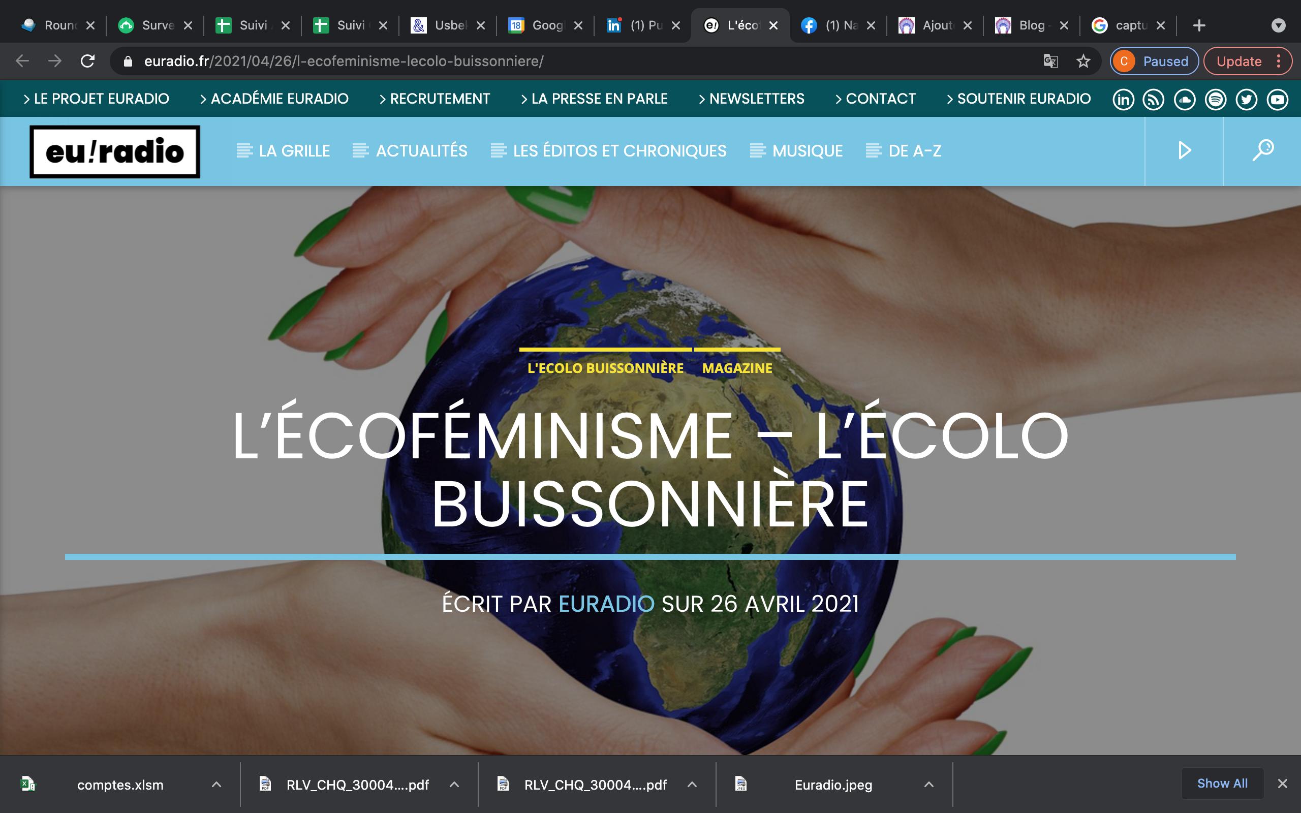 Nathalie parle écoféminisme sur Euradio